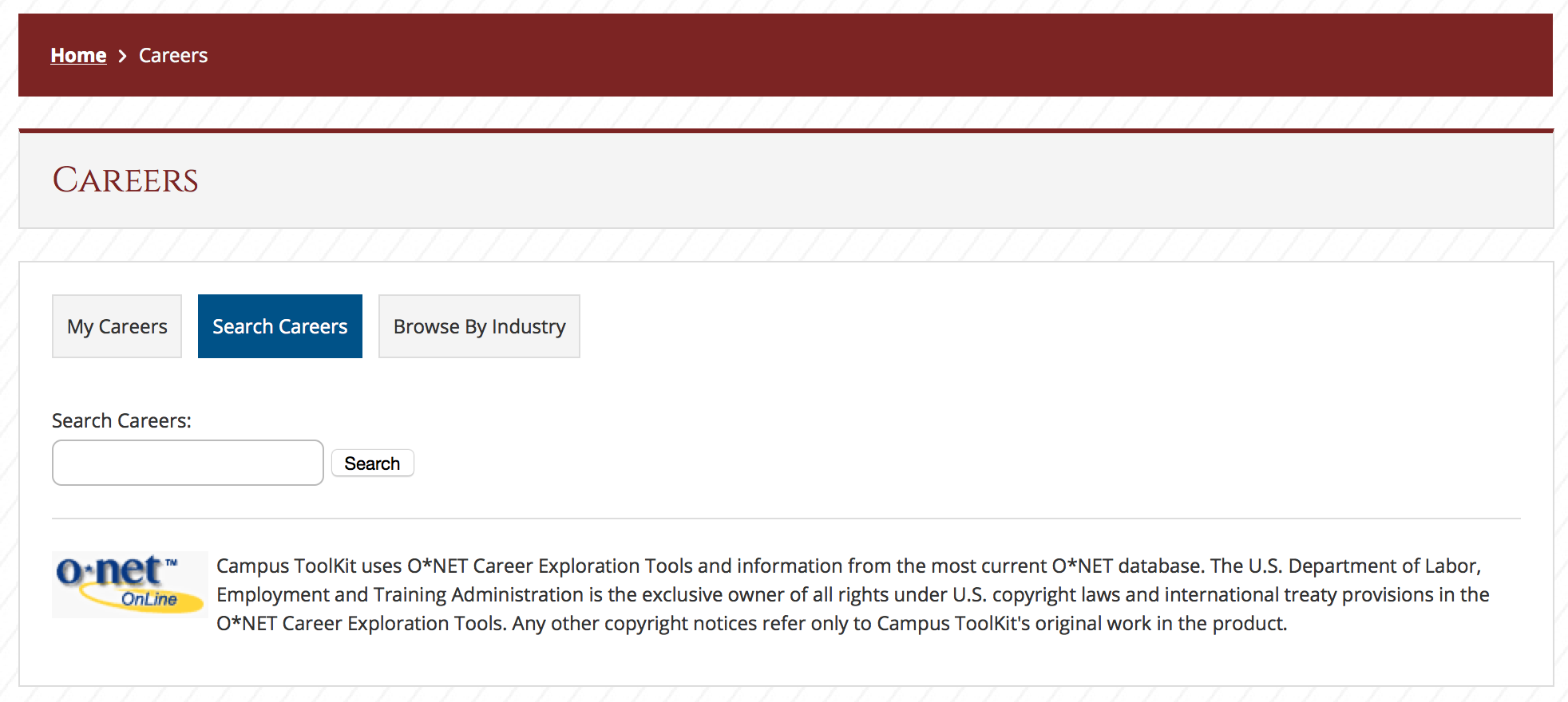 Career Search Tool Screenshot